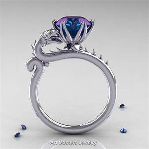 art masters 14k white gold 30 ct russian alexandrite With dragon wedding ring