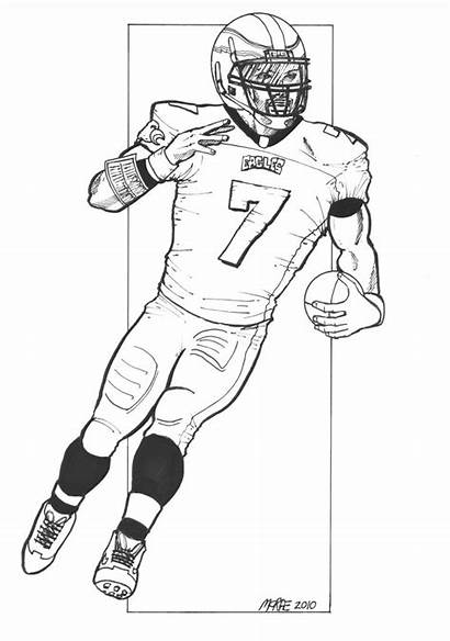 Coloring Football Pages Eagles Player Players Vick