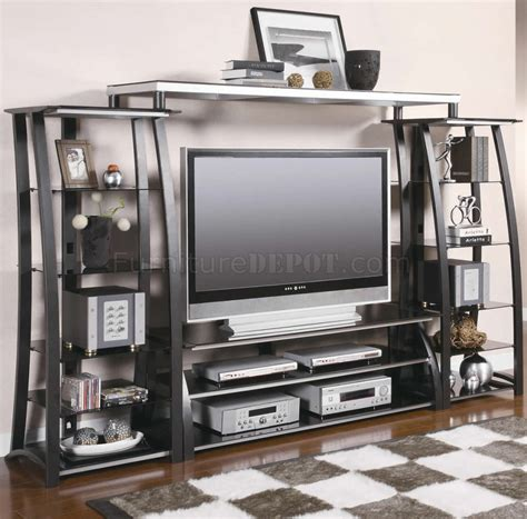 Metal Tempered Glass Modern Entertainment Wall Unit