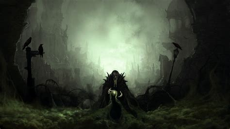 digital art fantasy art wizard raven dark ruin mist