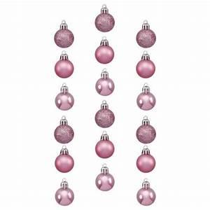 Mini Boule De Noel : lot de 18 boules de no l d30 mm mini rose boule et d co de sapin eminza ~ Dallasstarsshop.com Idées de Décoration