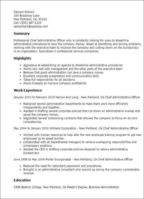 resume templates chief administrative officer desktop
