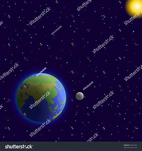 Vector, Space: Planets Mother Earth, Moon, Sun And Stars ...
