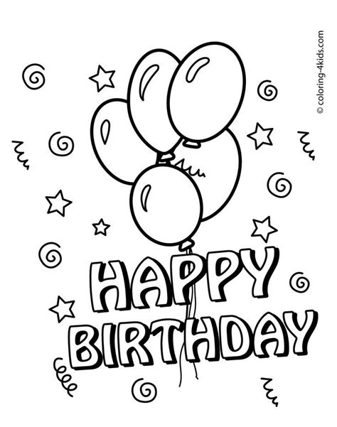 happy birthday coloring pages  balloons  kids