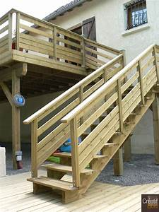 Escalier Extérieur En Bois : terrasse bois sur poteaux et escalier bois lanzac souilhac ~ Dailycaller-alerts.com Idées de Décoration
