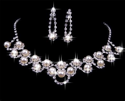 Elegant Pearl Wedding Bridal Jewelry Set,including Necklace And Earrings Jewelry Set Sale Christian Making Supplies Boxes For Men's Watches Jewellery Box Online African Gems And Exhibition Case Dior Gold Images