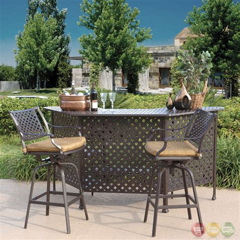 charleston 3pc cast aluminum outdoor dining bar set 10632280