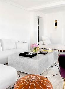 white modern sectional with marble block cocktail table With white block coffee table