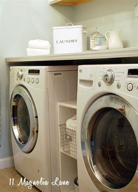 wire shelf washer and dryer laundry room makeover with diy laundry room folding shelf