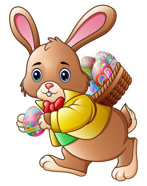 Conejo de pascua de dibujos animados con una cesta llena