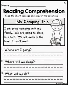 free printable reading comprehension worksheets for kindergarten images about on