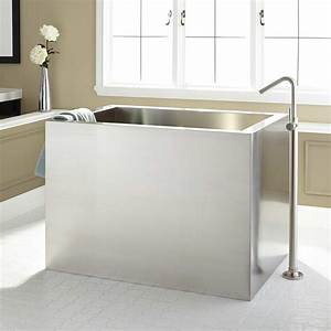 48quot Amery Brushed Stainless Steel Soaking Tub Bathroom