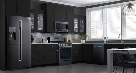 colored kitchen cabinets with white appliances these samsung black stainless steel appliances look 9830