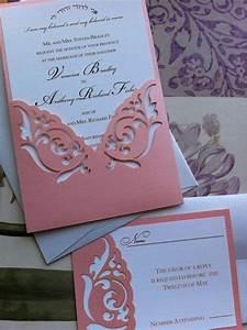wedding invitation laser cut elegant damask pattern With laser cut wedding invitation sleeve pocket