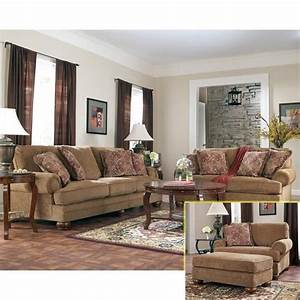 Nebraska furniture mart ashley traditional brown sofa for Nebraska furniture mart living room tables
