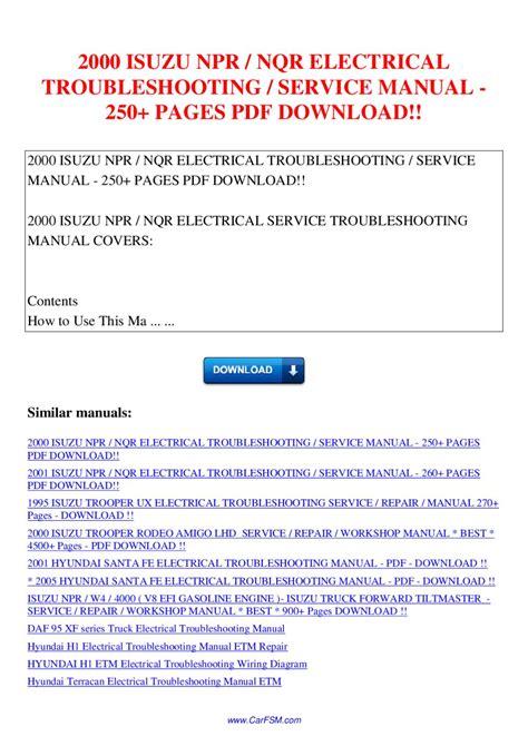 Isuzu Npr Nqr Electrical Troubleshooting Service