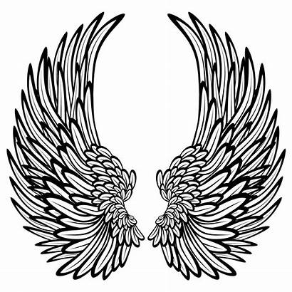 Wings Coloring Pages Angel Heart Drawings Hearts
