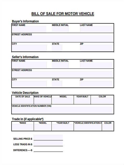 vehicle bill  sale form samples  sample