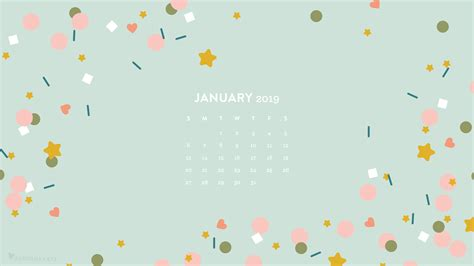 January 2019 Confetti Calendar Wallpaper
