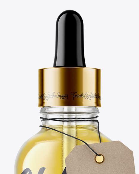 Premium cough syrup liquid medicine mockup. 50ml Clear Glass Dropper Bottle W/ Kraft Label Mockup in ...