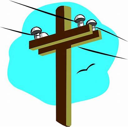 Pole Power Clipart Telephone Line Powerline Electric