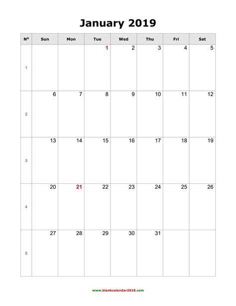 blank calendar  january