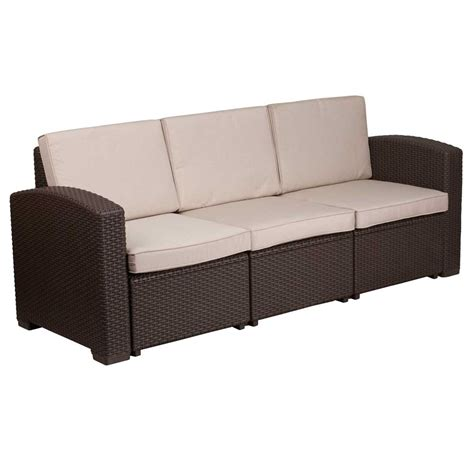 Faux Rattan Outdoor Sofa  Chocolate Brown In Outdoor Sofas