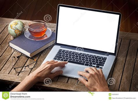 Hands Laptop Computer Desk Stock Photo