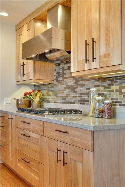 contemporary kitchen  quartz countertops  red birch cabinets idesignarch interior