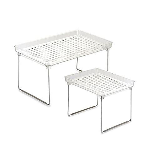 stacking shelves for kitchen cabinets madesmart 174 stackable cabinet shelf bed bath beyond 8216