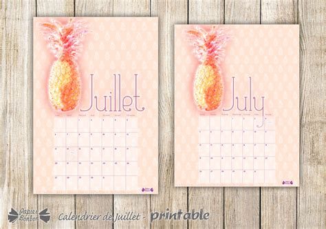 july printable calendar pineapple papier bonbon