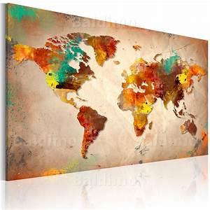 Bilder Xxl Leinwand : leinwand bilder xxl fertig aufgespannt bild weltkarte 020113 245 ebay ~ Frokenaadalensverden.com Haus und Dekorationen