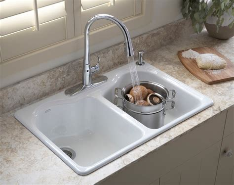 how to cut out a kitchen sink kohler k 5818 4 0 hartland self rimming kitchen sink with