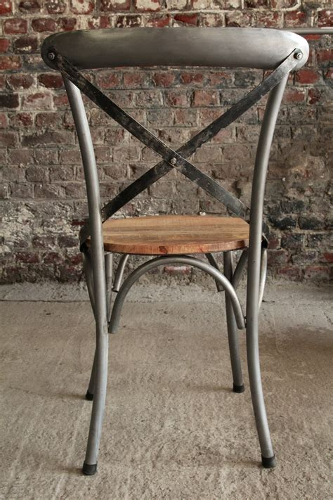 chaise bois metal industrial furniture bistro chair in wood and metal