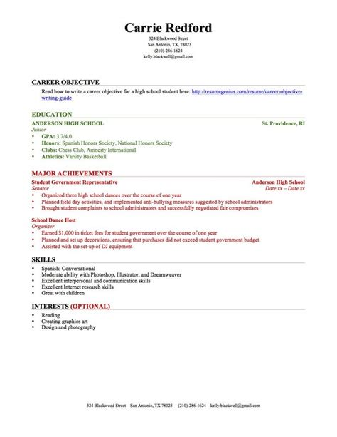 High School Resume by Education Section Resume Writing Guide Resume Genius