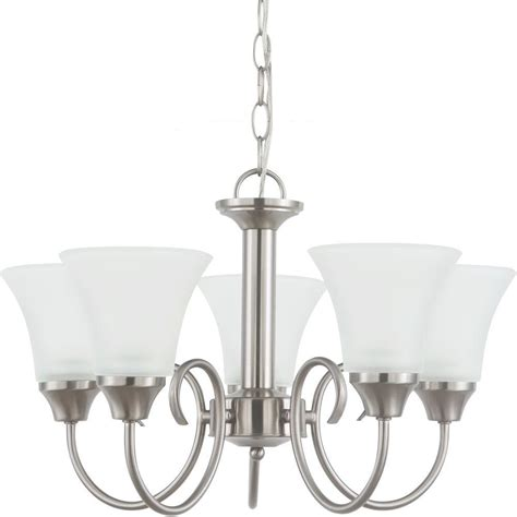 single chandelier sea gull lighting holman 5 light brushed nickel single