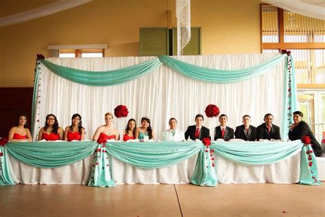 daughters quinceanera head table tiffany blue