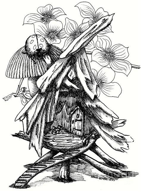 fairy  swing ladybug  tree house drawing  dawn boyer