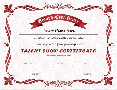 pin  alizbath adam  certificates talent show award