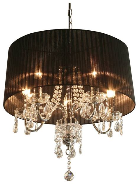 Chandelier With Black Shade And Drops by Drop Chandelier With Shade By The Luxe Co