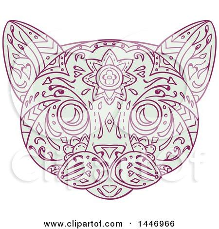 clipart   sketched mandala styled cat face royalty