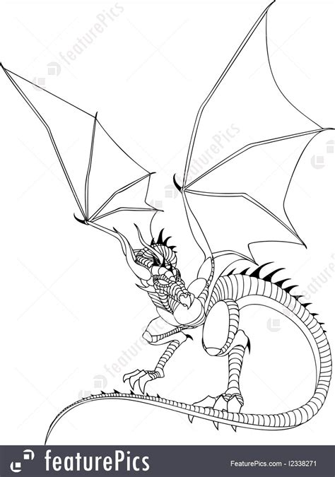 science fiction  fantasy dragon  drawing stock