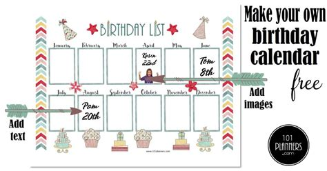 birthday calendar printable customizable