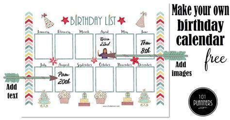 birthday calendar printable customizable