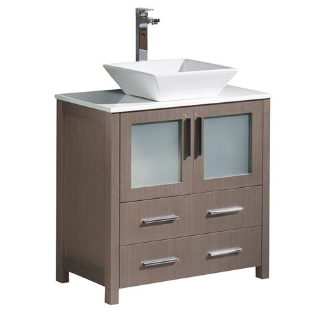 White Vanity With Gray Top by Fresca Torino 30 In Bath Vanity In Gray Oak With Glass