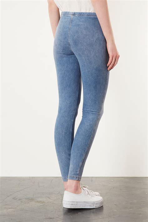 lyst topshop light washed denim leggings  blue