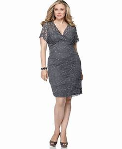 marina plus size dress cap sleeve grey lace cocktail With macy s wedding dresses plus size