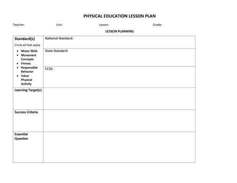 Pe Lesson Plan Format Template - Pe lesson plan template