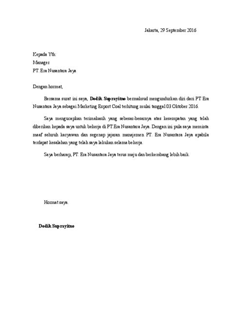 contoh surat pengunduran diri resign  tempat