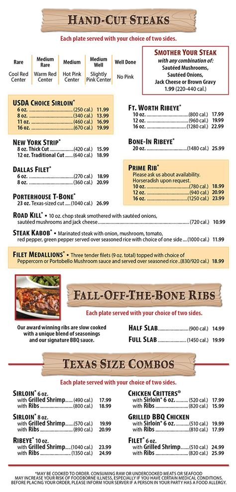 Texas Roadhouse Menu | Order Online | Delivery | Lincoln ...